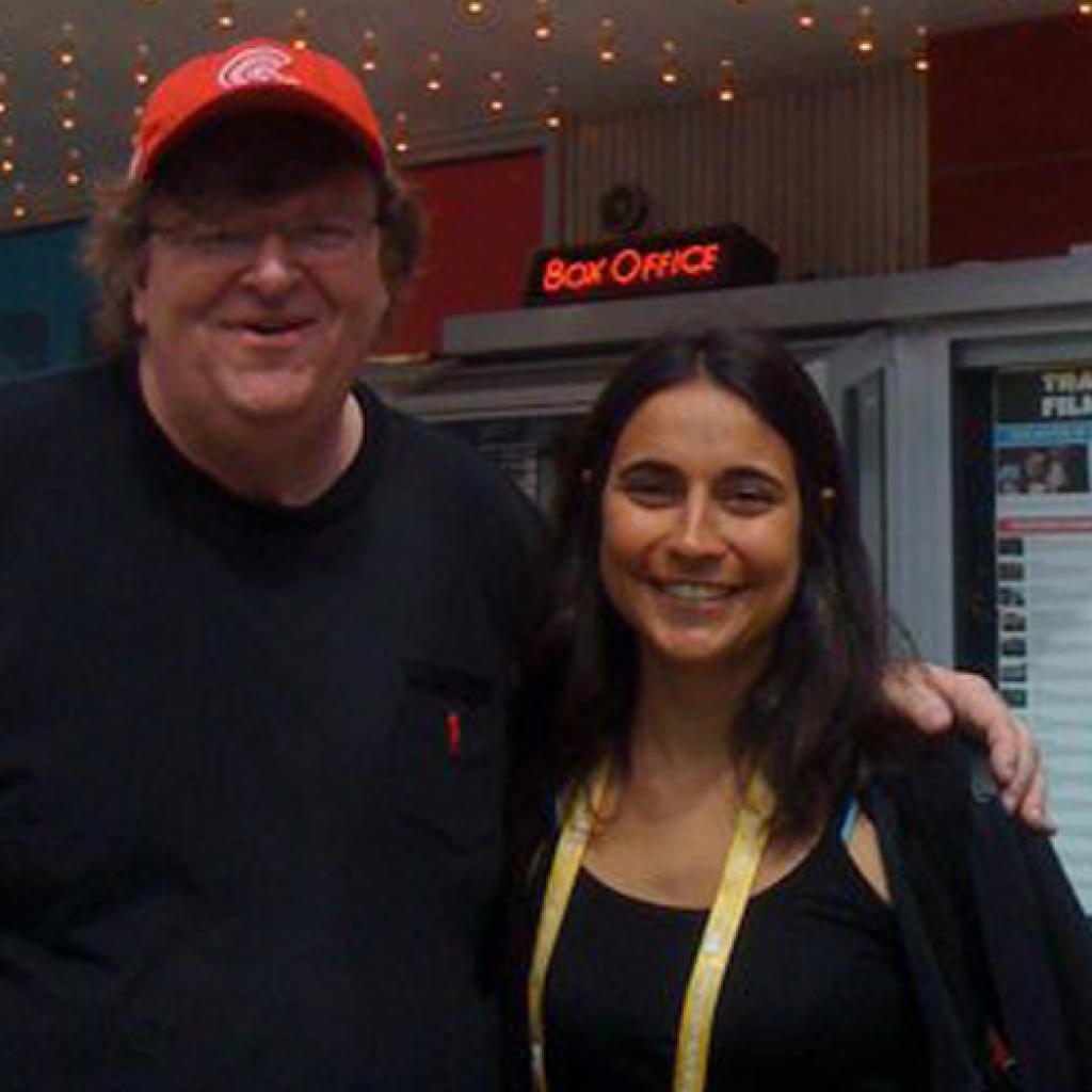 JULIA BACHA WITH MICHAEL MOORE